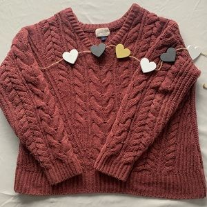 Universal Thread cable knit maroon pullover